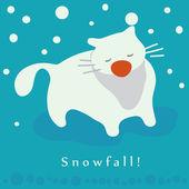 Cat and snowfall. Winter holidays card — Stockvector