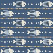 Seamless mönster med skelett fisk — Stockvektor