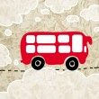Red bus in the clouds — Stock Vector