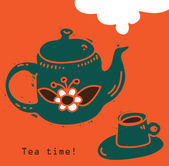 Teapot and cup of tea. — Stock Vector