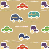 Seamless texture with little cars — Stock Vector