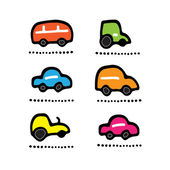 Kid colored cars. Set icon — Stock Vector