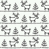 Christmas seamless texture with deer and tree. — ストックベクタ