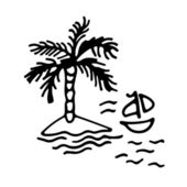 Hand drawing Island and boat — Stock Vector