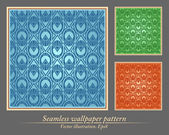 Seamless wallpaper pattern, ornament, vector, collection — Stock Vector