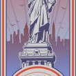 Stock Vector: Independence Day, Statue of Liberty, holiday, vector