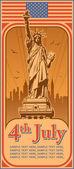 Självständighetsdagen, staty av liberty, semester, vektor — Stockvektor