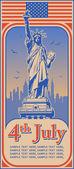 Unabhängigkeitstag, statue der freiheit, urlaub, vektor — Stockvektor