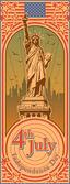 Dia da independência, estátua da liberdade, férias, vetor — Vetorial Stock
