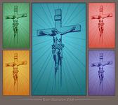 Jesus Christ, crucifix, blessing, cross, Christianity, vector — Stock Vector