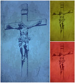 Jesus Christ, crucifix, blessing, cross, Christianity, vector — Vecteur