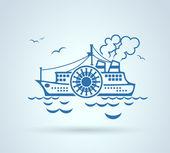 Abstract ship, stylization, vector — Stock Vector