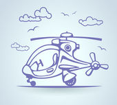 Abstract helicopter, stylization, vector — Stok Vektör