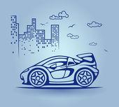 Abstract car, stylization, vector — Stock Vector