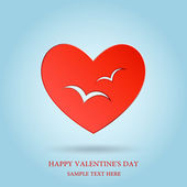 Valentines day, Red heart, Vector banner — Stock Vector