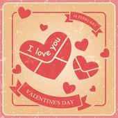 Kalp zarf, sevgililer günü, vektör retro afiş — Stok Vektör