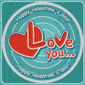 Valentines day, Love, Vector retro banner — Stock Vector
