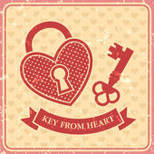 Valentines day, Key from heart, Vector retro banner — Stock Vector