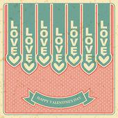 день святого валентина, любовь, ретро баннер вектор — Cтоковый вектор
