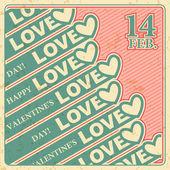 Valentines day, Love, Vector retro banner — Stock Vector