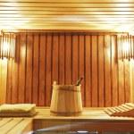 Interior of modern sauna cabin — Stock Photo