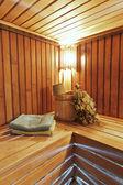 The interior of the sauna - bench, lamp, nobody, lamp — Stock Photo