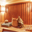 Interior of wooden russian sauna - Stock Photo