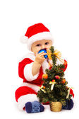 Small Santa Claus with fir-tree it is isolated — Stock Photo