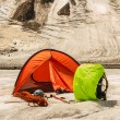 Stockfoto: Red tent costs on glacier