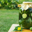 Homemade cucumber preserved in glass jar — Stock Photo