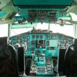 Cabin of the pilot of the passenger plane inside — Stock Photo