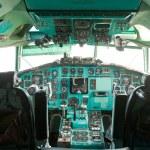 Cabin of the pilot of the passenger plane inside — Stock Photo