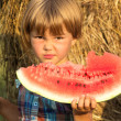 Small child outdoors eats water-melon — Stock Photo #21061127