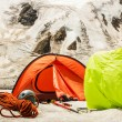 Mountain basic camp of climbers — Stock Photo #21061235