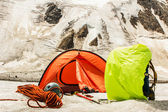 Mountain basic camp of climbers — Stock Photo