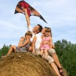 Happy family astride hay flying kite. — Stock Photo #22791106
