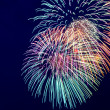 Colorful fireworks on the dark dlue sky background — Stock Photo #27047921