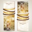 Greeting cards with ribbons, snowflakes and copy space. - Stock Vector