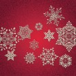Abstract 3D Snowflakes Design — Stock vektor