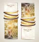 Greeting cards with ribbons, snowflakes and copy space. — Stock Vector