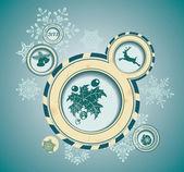 Vánoční pozadí s retro bubliny — Stock vektor