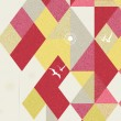 Retro Geometric Background with birds - Imagen vectorial