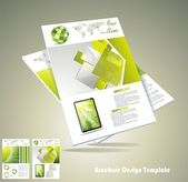 Vector green brochure design set — Stock Vector
