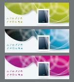 коллекция баннер дизайн tablet pc компьютер — Cтоковый вектор