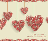 Valentine day doodle hearts — Stock Vector