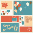 Cтоковый вектор: Illustration for happy birthday card. Vector.