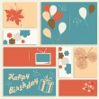 Illustration for happy birthday card. Vector. - Vettoriali Stock