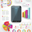 Modern Infographic with a touch screen smartphone in the middle. - Stock Photo