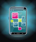 Smartphone con pantalla táctil — Vector de stock