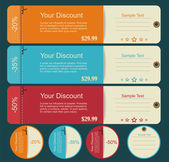 Vintage discounts template set — Stock Vector